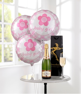 Picture of Celebratory Champagne & Baby Girl Balloons