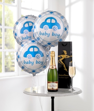 Picture of Celebratory Champagne & Baby Boy Balloons