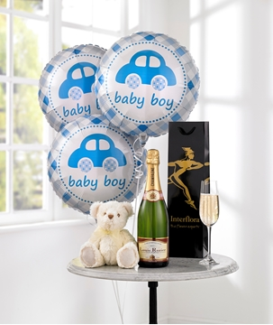 Picture of Celebratory Champagne, Baby Boy Balloons & Teddy Bear
