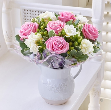Picture of Fragrant Pink Rose and Freesia Jug