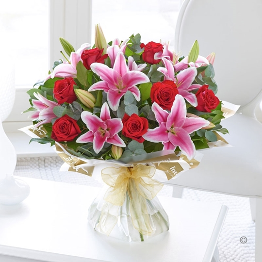 Picture of Red Rose and Pink Lily Hand-tied Lge