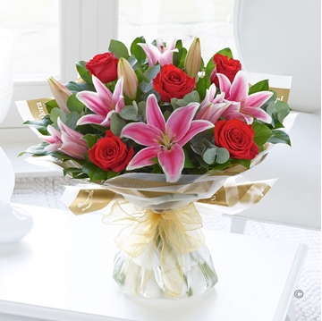 Picture of Red Rose and Pink Lily Hand-tied