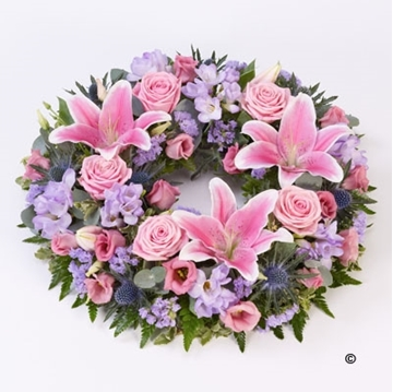 Picture of Rose and Lily Wreath - Pink and Lilac