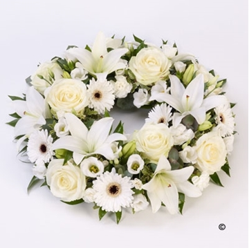 Picture of Rose and Lily Wreath - White