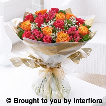 Picture of Summer Sunset Rose and Alstroemeria Hand-tied