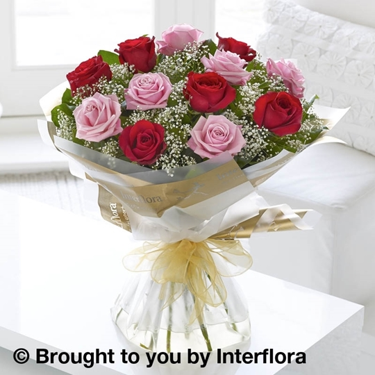 Picture of Heavenly 12 Rose Pink and Red Hand-tied