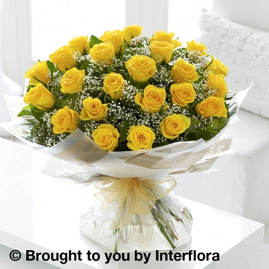 Picture of Heavenly 24 Yellow Rose Hand-tied