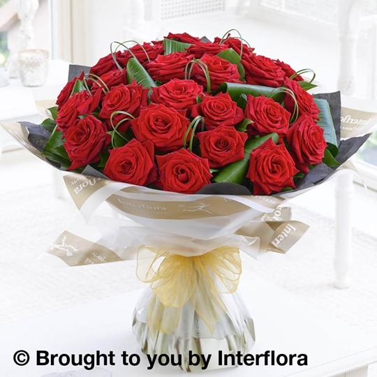 Picture of Luxury 24 Long Stem red Roses Hand-tied