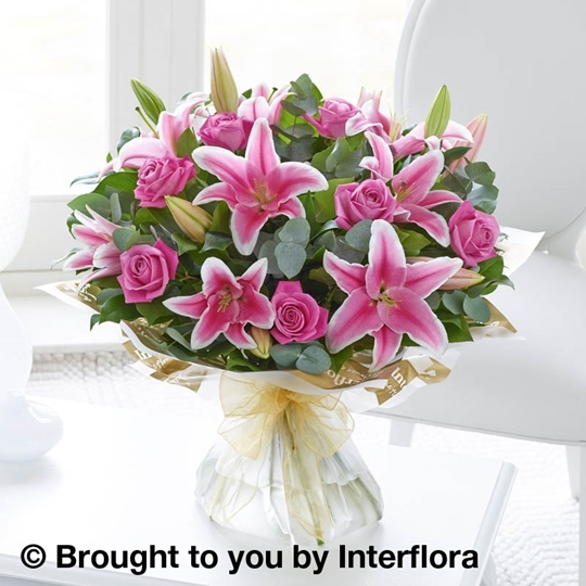 Picture of Pink Rose and Lily Hand-tied Lge