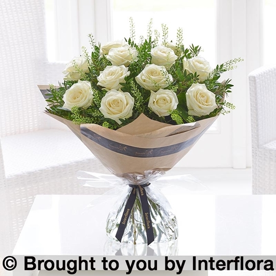Picture of Dramatic Dozen White Roses