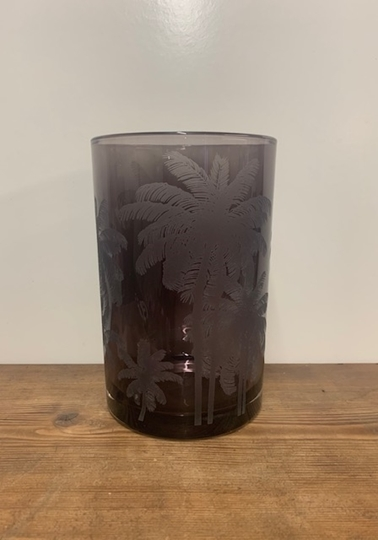 Picture of Deep Purple Palm Patterned Vase