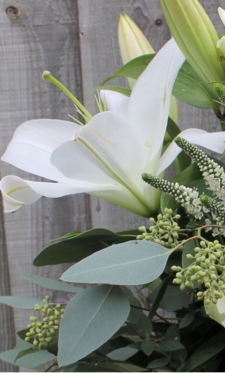 Picture of White Lily and Foliages Bouquet