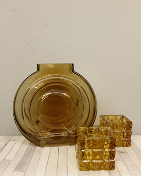 Picture of Set Amber Vase and Tea-light Holders