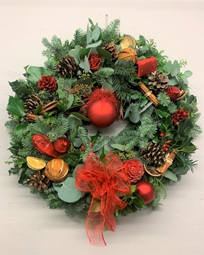 Picture of Glamorous Red Christmas Door Wreath