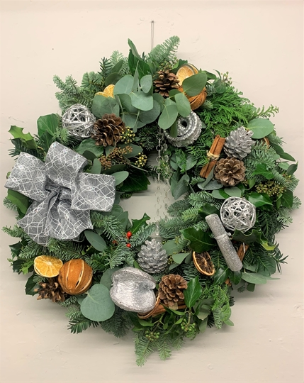 Picture of Sassy Silver Christmas Door Wreath