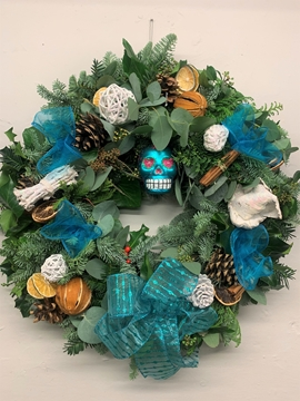 Picture of Sexy Blue & White Christmas Door Wreath