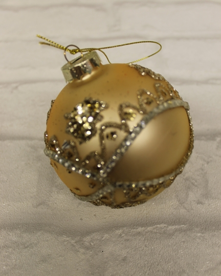 Picture of Matte Gold Bauble With Diamante Detail