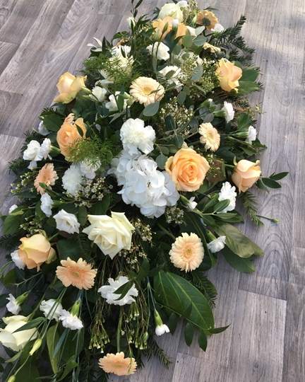 Picture of Ivory & Peach Casket Spray