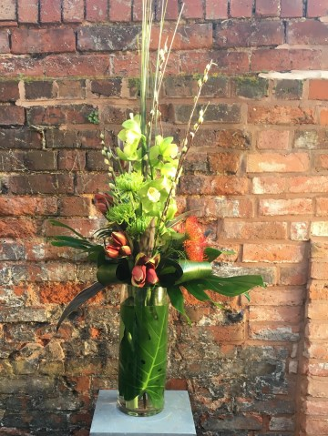 Cymbidium Orchid & Amaryllis Vase Display