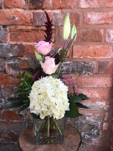 Hydrangea, Lily and Rose Vase Display