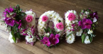 Mom Funeral Tribute With Cerise Orchid And Rose Sprays