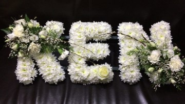 Custom Name Funeral Tribute With White Rose Sprays