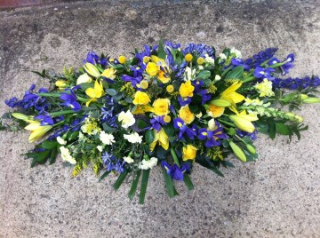 Casket Spray In Yellows & Blues