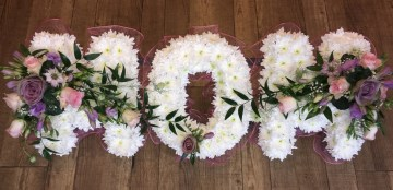 Mom Funeral Tribute With Pink And Lilac Rose Sprays