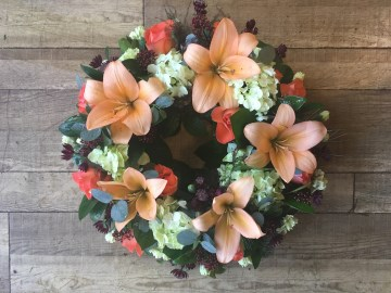 Wreath Display In Orange And Peach