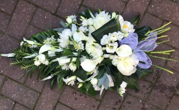 Single Ended Spray Funeral Tribute- Ivory Blooms