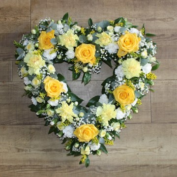 Open Heart Floral Tribute Yellows And Lemon