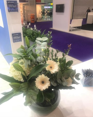 Lily, Gerbera & Hydrangea Vase Display For Ecommpay At ICE Totally Gaming