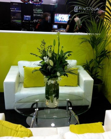 Tall Cylinder Vase Display At ICE Totally Gaming Excel