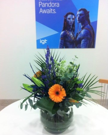 Lily, Gerbera & Acconitum Glob Vase Display For IGT At ICE Totally Gaming Excel