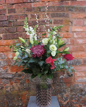 Vase Display Of Chrysanthemum Bloom, Anthurium, lily And Antirrhinum With Foliage