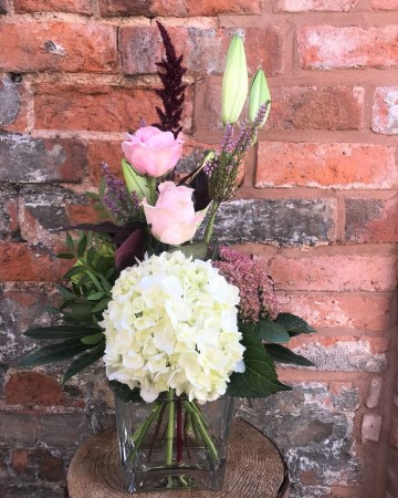 Cube Vase Display Hydrangea, Lily, Rose And Amaranthus