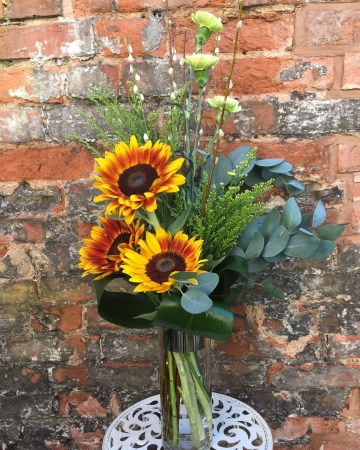 Vase Display Sunflowers, Solidaster And Carnation