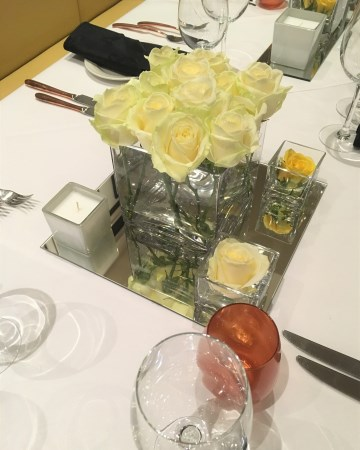 White Rose Cube Vase Display At Andrew Waters Resorts World