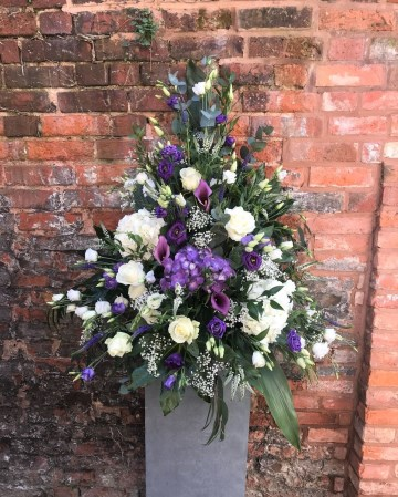 Pedestal Display In Ivory Purple And Lilac