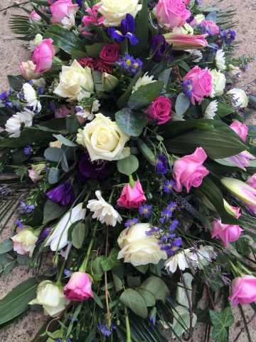 Pink Ivory And Purple Mix Casket Spray