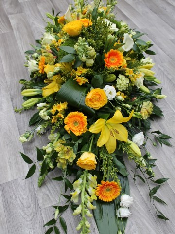 Yellow Gold And Orange Mix Casket Spray