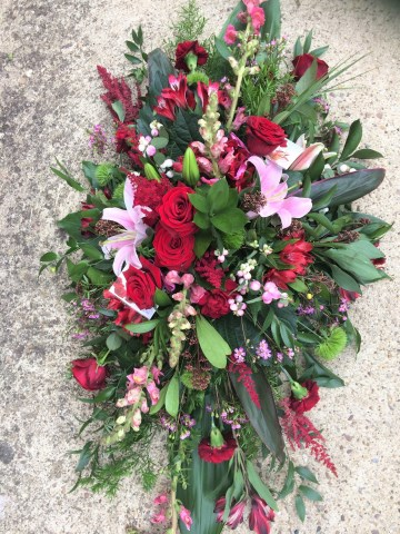 Red Rose - Pink Lily Mixed Casket Spray