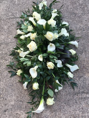 Ivory Rose And Calla Lily Casket Spray