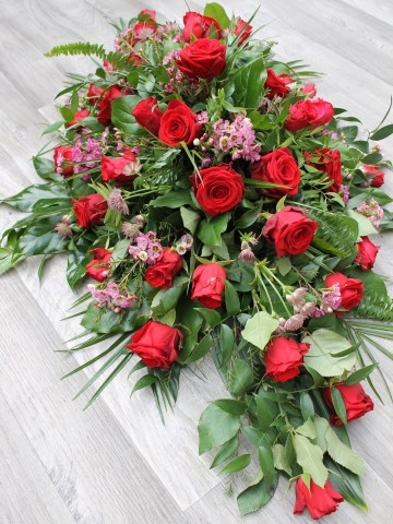 Red Rose And Pink Waxflower Casket Spray
