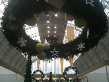 Hanging Wreath Display At Spirit Of Christmas - Olympia London