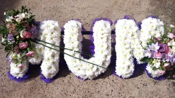 Ribbon Edge - White Based Letters - Purple And Lilac Sprays