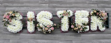 Ribbon Edge - White Based Letters - Pink And Ivory Sprays