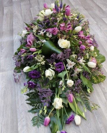 Country Garden Casket Spray In Lilac, Purple And Ivory