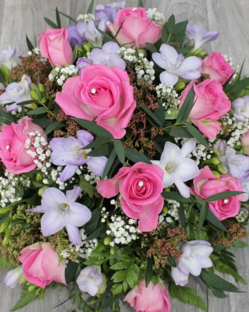 Rose And Freesia Posy Display - Pink- Lilac