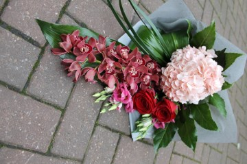 Contemporary Hand Tied Sheaf Design - Orchid- Hydrangea - Foliage